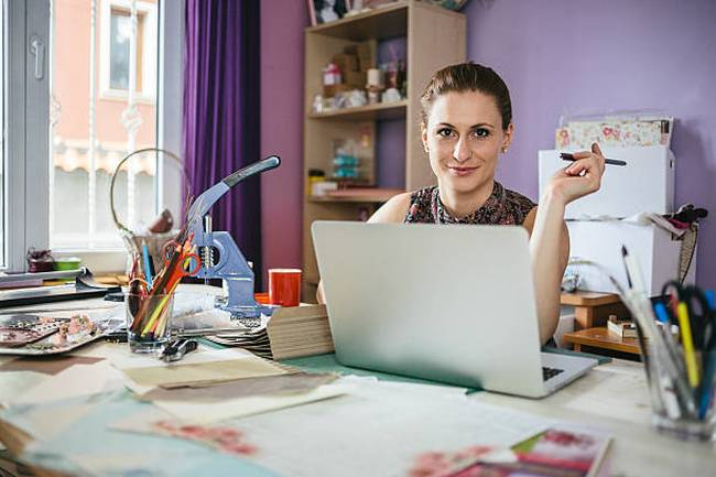 woman-designer-working-at-home